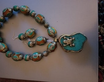 Rustic Tibetan bead necklace with frog detail