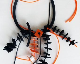Black & orange squares necklace