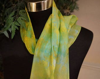 clothing, gifts, hand dyed silk scarf, ice-dyed silk scarf, hand dyed scarf, 100%,silk scarf, scarf, scarves, ladies  scarf, neck scarf