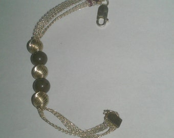925 Sterling Silver Beaded and Netted Looking Bracelet