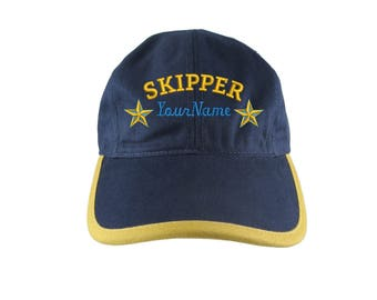 Personalized Nautical Skipper Stars Embroidery on a Polo Style 5 Panel Adjustable Navy and Mango Unstructured Cap for the Boating Enthusiast