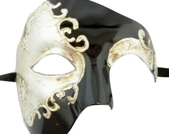 Music Phantom Men's Masquerade Mardi Gras Prom Ball Mask Foil and Day of Dead Styles