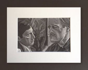THE GODFATHER wall art - giclee print of 'Family' acrylic painting by Stephen Mahoney - vintage-style Godfather movie fine art
