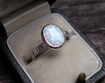 Simulated Opal Sterling Silver Hammer Textured Ring