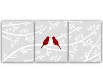 Home Decor, Bedroom CANVAS Wall Art, Modern Love Bird Art PRINTS, Grey Nursery Wall Decor, Bathroom Art  - HOME74