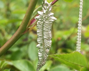 Feather Pendant in Fine Silver