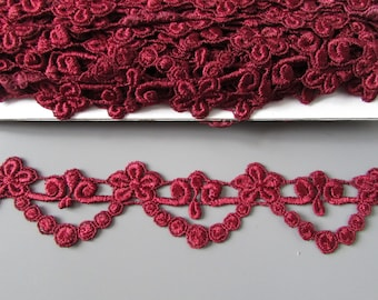 Burgundy Red Venise Lace sold by the metre