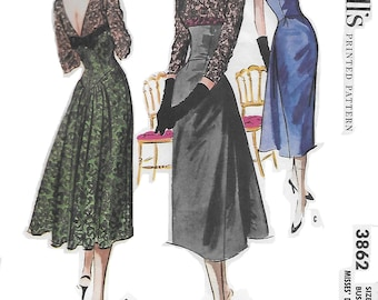 McCall's 3862 Women's 50s Evening Lace Dress Sewing Pattern Size 12 Bust 32