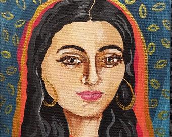 """Veiled Lady. Original acrylic on 4"""" x 4"""" x 1/4"""" mini canvas"""