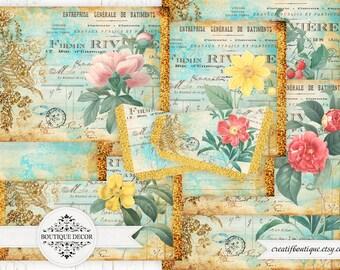 Vintage Flower Printable Journal Kit. Instant Download.