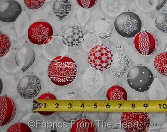 Winter's Graundeur Christmas Metallic Silver Red Balls BY YARDS RK Cotton Fabric