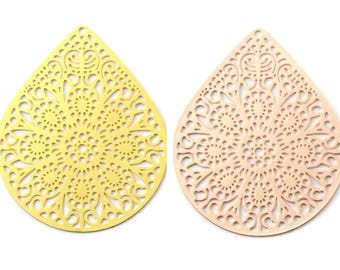 Print / pendant filigree (components) large drop style mandala, ethnic 39 x 49 mm (gold (Golden) or rose gold (pink gold))