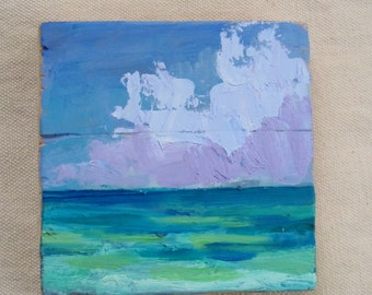 custom Small square, abstract landscape, ocean picture, original oil painting, summer painting, blue seascape, beach modern