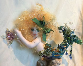 OOAK Mermaid Art Doll Sea Maiden Mermaid Art Doll Soft Sculpture Cloth Doll Mazie