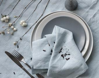 Linen Napkins Set,Blue Linen Napkins,Dinner Cloth Napkins,Pure Linen Napkin,Softened Linen Napkins,Wedding Table Linen,Christmas napkins