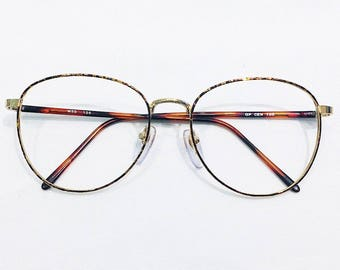 Vintage 1990's Oversized Gold Electro Plated Phantos Eyeglasses Frames