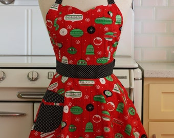 Retro Full Apron Christmas Ornaments on Red BELLA Sweetheart Neckline