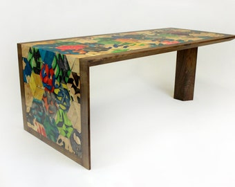 Recycled Skateboard and Walnut Mosaic Coffee Table, geometric hexagon table, modern living room furniture