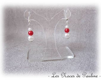 Earrings red and white 3 pearls b