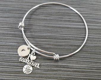 I Love Basketball Bracelet - Expandable Bangle - Basketball Charm Bracelet - Initial Bracelet - Basketball Gift - Basketball Bangle