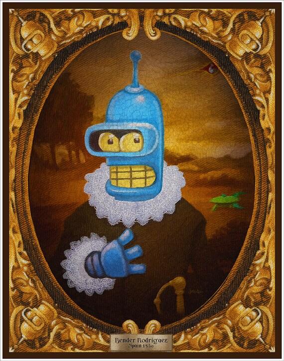 "Parody ""Bender Rodriguez circa 1580"" art print on premium matte paper with archival ink // Bender // Futurama // Mashup"