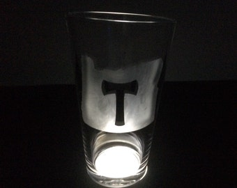 Portland Timbers FC Axe in Oregon State Shape PTFC Pint Glass, Etched by Hand - Single Glass