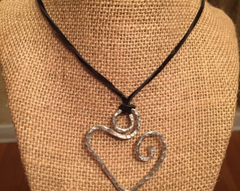 Popular Silver Swirled Heart on Black Suede Necklace