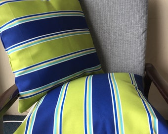 Green and Blue Striped Outdoor Cushion Cover 18x18inch 45x45cm Cushion Throw Cover