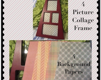 Collage Frame 4 Photo 4 Background Papers Home Country Cottage Chic Victorian Gift Wall Art Wall Hanging Shelf Sitter Wood Supplies