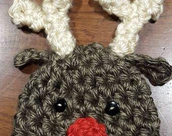 Crochet reindeer hat, photo prop, Christmas hat baby shower gift,
