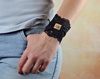 Black Stretch Bracelet Lace Cuff Tattoo Cover up Lace Bracelets Cannabis Buckle Wristband Lace Wrist Cuff Lace Jewelry Stretchy bracelet