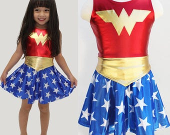 Girls wonder woman costume 4th of july  blue and red gold metallic