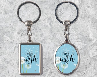 Quote Keychain, Make a Wish Keyring,  Dandelion Keyring, Metal Keychain, Double-sided Keyring, Watercolor Key Chain, Inspirational Quote