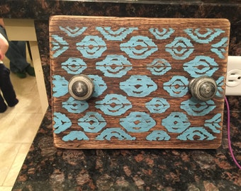 Custom Rustic Patterned Wood Block Picture Frame