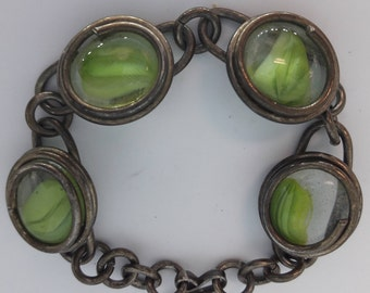 Green and Clear Glass Disk and Gunmetal Vintage Link Bracelet