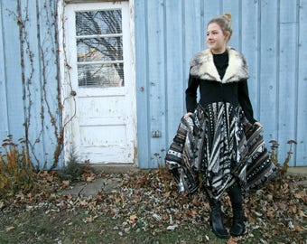 Fur Collar Upcycled Sweater Coat// Medium// Black and White// emmevielle