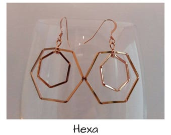 """Hex"" in 14 k Gold Filled earrings"