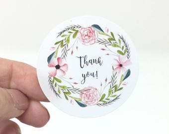 """2"""" Floral Wreath Thank You stickers, customer thank you sticker, round thank you, packaging sticker, thank you labels packaging supplies"""