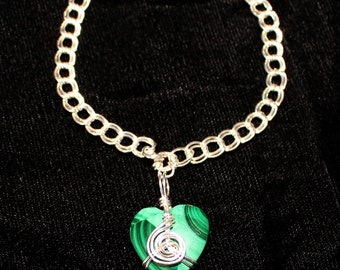 Wire-wrapped Malachite Heart Bracelet G350