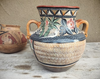 Large Vase Tonala Pottery Olla with Handles Mexican Pottery Burnished Pottery Mexican Decor