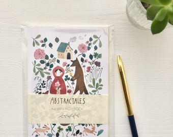 Mini note book with illustrated cover, handmade note book, mini notepad, fairytale notebook, little red riding hood A6 mini notebook