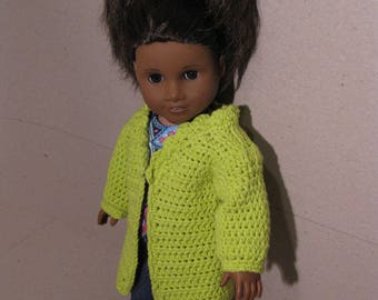 Lime Green Crocheted Cardigan Jacket for Americcan Girl 18 inch Doll