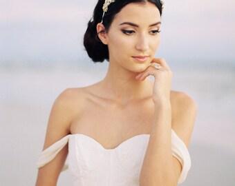 Gold Bridal Headband. Gold Bridal Headpiece. Bridal Beaded Gold Hair Piece {Ellie}