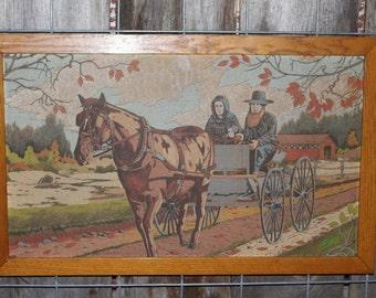 OOAK Vintage Framed Amish Illustration Folk Art