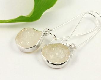 Dangle Druzy Earrings - Kidney Shape Earrings  - White Agate Druzy in Silver Bezels - Long Drop Earrings - Natural Quartz Crystals - Bridal