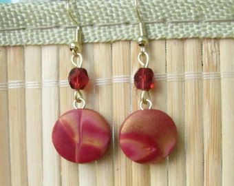 Marsala and Gold Circle Dangle Earrings -  Handmade Polymer Clay Jewelry Gift for Anniversary Wife Girlfriend Mom Mother Sister Teacher