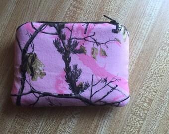 Pink camo coin purse