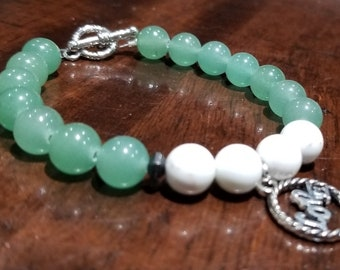 Green Aventurine and White Magnesite with love charm