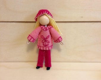 Bailey - Dollhouse doll - Miniature doll - Bendy doll - Faceless doll - Waldorf doll - Montessori