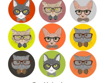 Hipster Cats, Set of 2 Sugar Transfer Sheets, Easily make Chocolate Lollipops, Cupcake Toppers, Cat Lover Birthday Favors, Hipsters Party